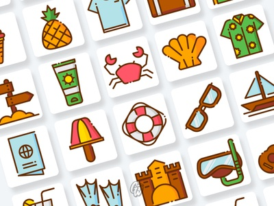 Summer Icons Collection web app vector branding ui illustration design icon flat goodware