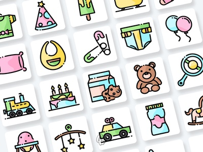 Baby Shower Icons Collection web app vector branding ui illustration design icon flat goodware