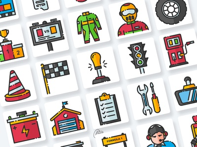 Racing Icons Collection app web ui illustration branding vector design flat icon goodware