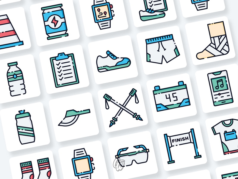 Running Icons Collection web ui illustration branding vector design flat icon goodware