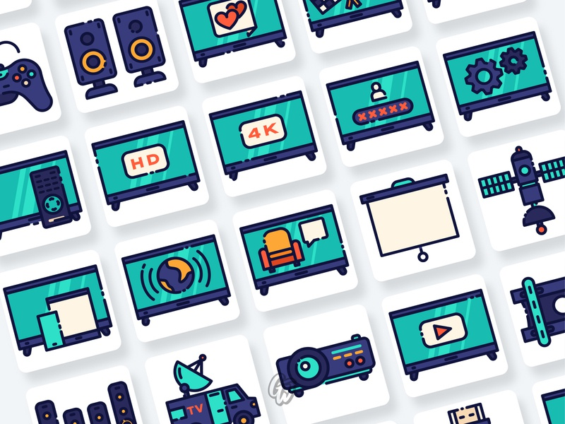Television Icons Collection web ui illustration branding vector design flat icon goodware