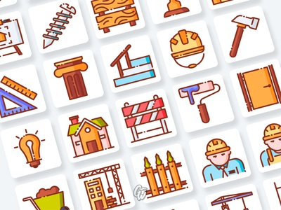 Architects and Contractor Icons Collection web ui illustration branding vector design flat icon goodware