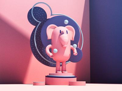 Pink elephant juggling balls cute animal cute cinema4d pink elephant kawaii design charactedesign c4d 3d illustration
