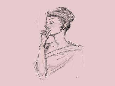 Audrey smoking drawing fashion procreate illustrator draw design illustration digital art