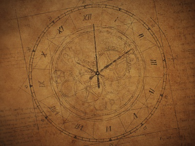 Clock Wireframe - Texture old paper paper wireframe design time figurative blueprint steampunk clockpunk gears clock watch renaissance vintage after effects da vinci