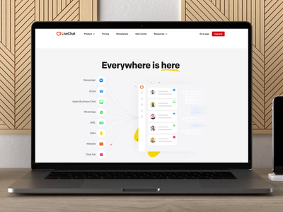 LiveChat - Omnichannel motion graphics design ui macbook message chat motion web design saas homepage saas after effects omnichannel home landing animation homepage