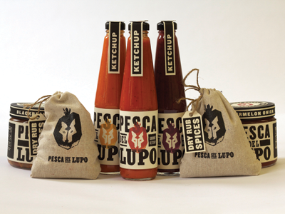 Pesca del Lupo Packaging packaging salsa burlap chutney ketchup gourmet pesca del lupo wolf peach