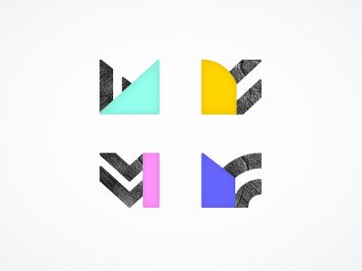 M Series m texture typography neon colorful procrastidesigning