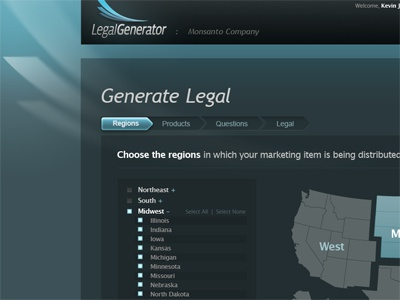 Legal Generator - Generate Legal Page legal generator ui green blue web layout