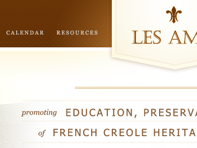 Les Amis french web design layout brown gold historical missouri banner shield glow typography les amis