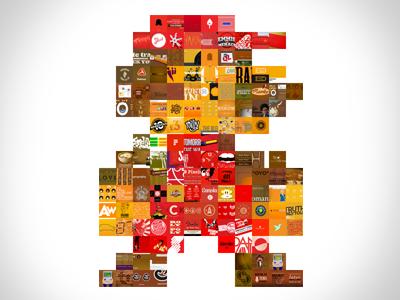 Mario Made From Dribbble Shots mario nes nintendo dribbble colors photomosaic pixel