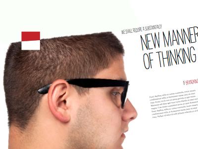 New Manner of Thinking print layout branding head logo slant angle typography brochure