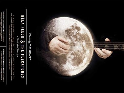 Béla Fleck & The Flecktones Concert Poster béla fleck concert poster moon banjo hands sepia black music band