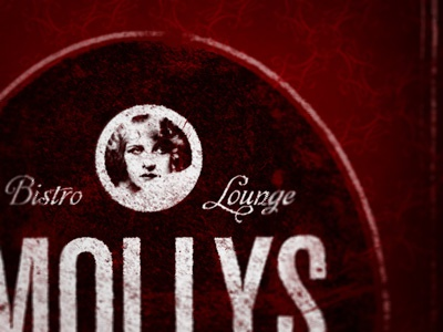 Mollys print layout typography design bar bistro lounge logo black red