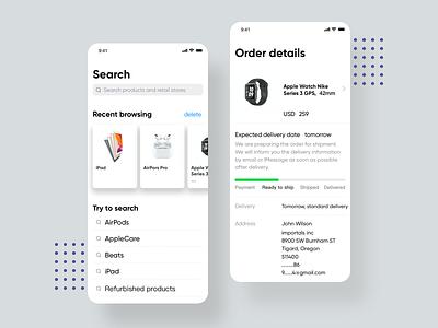 Order page app design ui branding