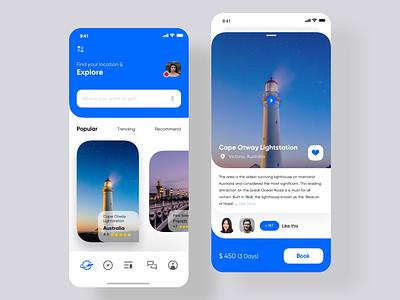 Travel app home page animation vector web design branding app