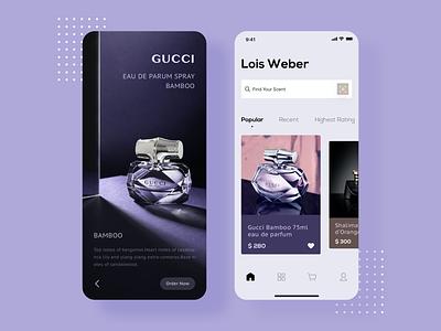 Purfume app home page perfume ux ui app design branding