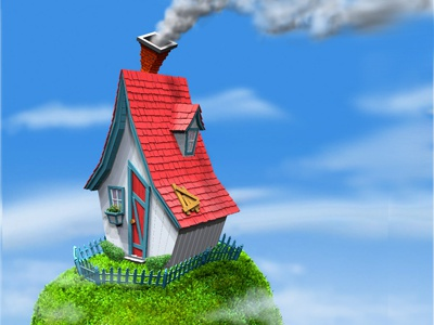 Shack shack sky clouds chimney house grass bushes smoke