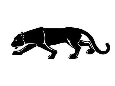 Lioness black and white hunter big cat apex predator lioness illustration graphic design identity icon