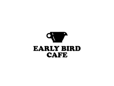 Early Bird Cafe vector drink food bird cafe logo cafe coffee cup icon branding identity illustration graphic design logo