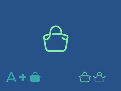 A/ Bag/ Basket/ Shopping negativespace letter a cart shopping bag line minimalist identity graphic design logo