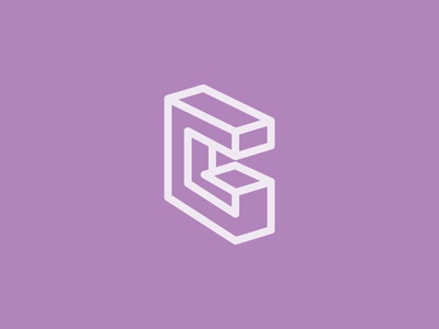 G monogram perspective line g graphic design