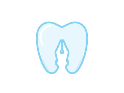 Dental Education 2 tooth medical education nib pen logo dental