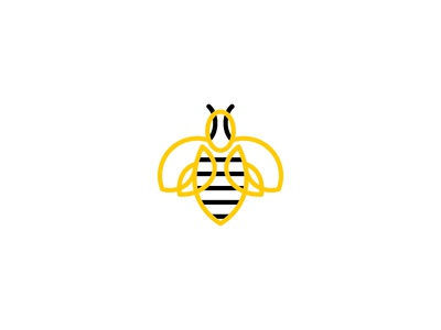 Bee  black yellow stroke logo graphic design nature insect fly honey bee