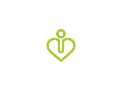 i / Heart logo stroke graphic design hospital medical health figure heart i logo