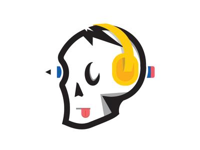 A Skull music graphic designer pencil tongue headphone head skull illustration