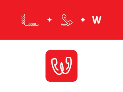 W/telephone call chat wire logo icon telephone w