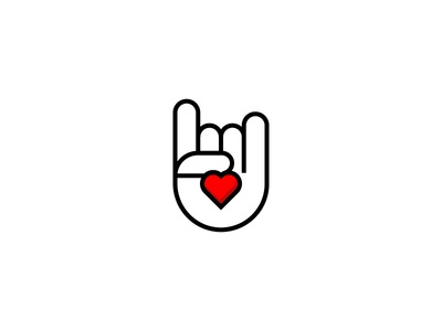 Rock/heart/hand gesture graphic design sign hand heart rock