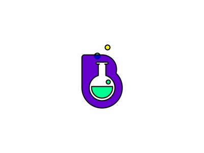 B/Brew bubbles b illustration science chemistry graphic design logo