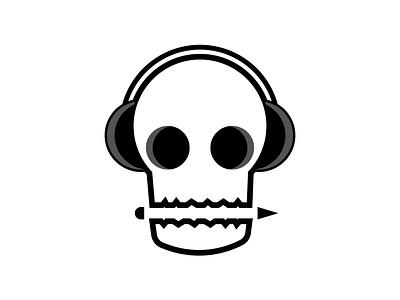 Dead Designer illustration icon headphones pencil graphic design skull logo