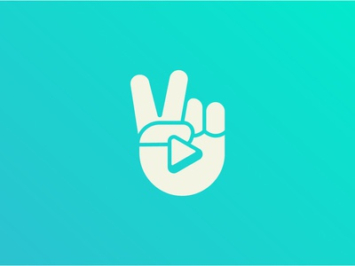 Vidly drama pakistan music bollywood streaming human play button play gesture victory v hand icon graphic design logo