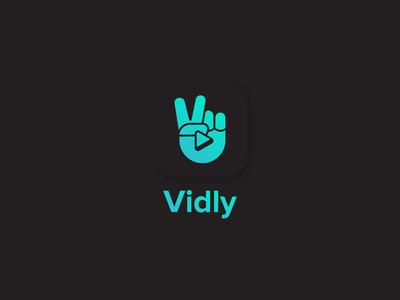 Vidly brand andriod streaming drama app movie app drama pakistan bollywood play icon play app video gesture hand v v-sign victory identity icon logo