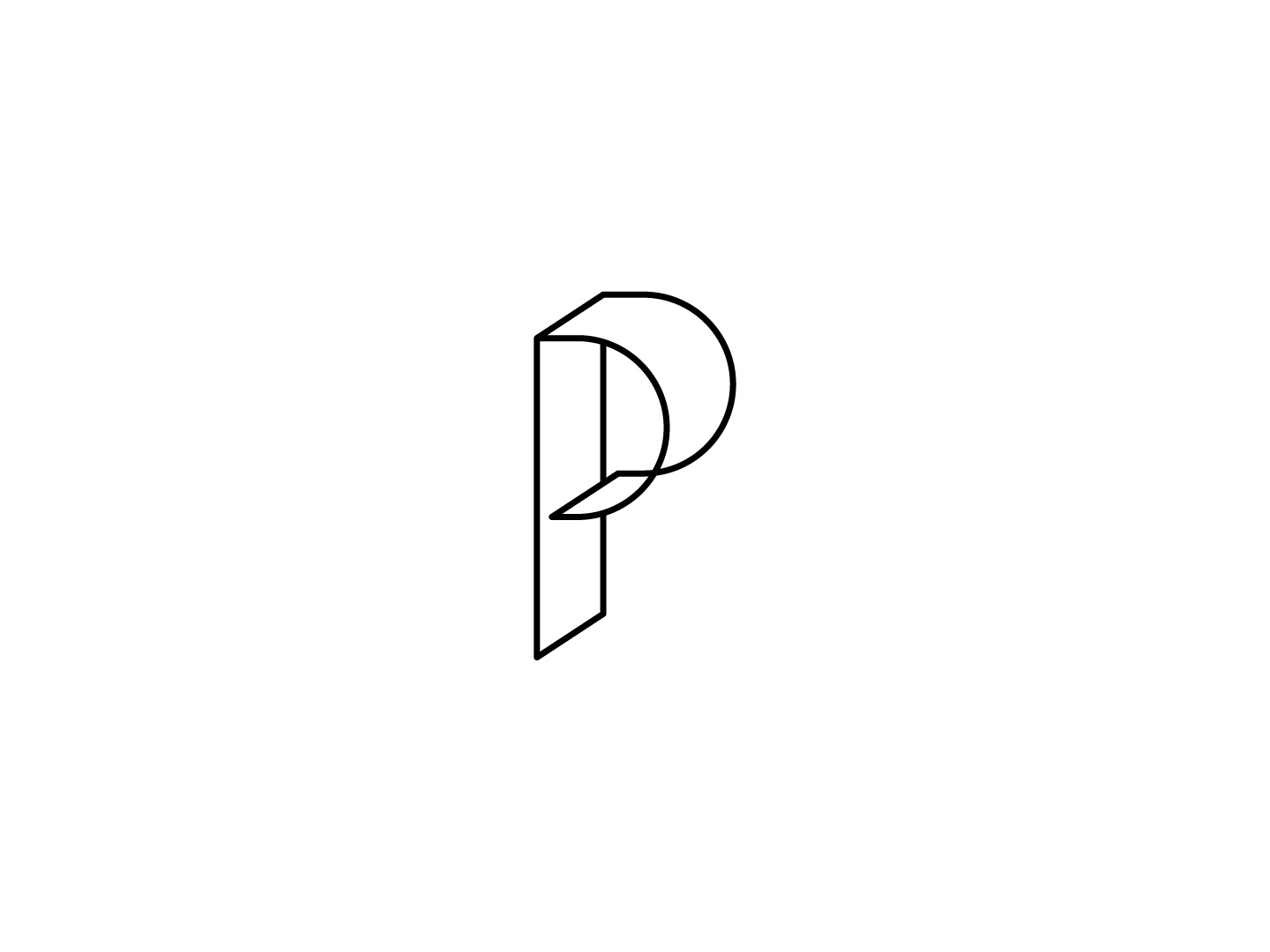 P monogram line graphic design logo