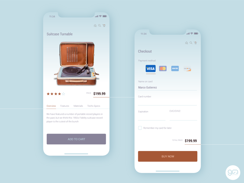 Credit Card Checkout turntable ux checkout ui