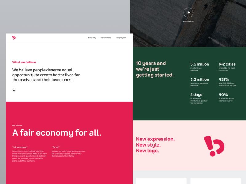 Bukalapak Brand Story branding web design logo brand identity brand ui layout typography website