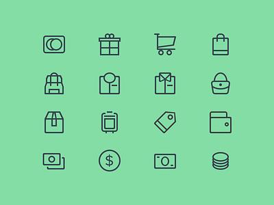 Budicon - Ecommerce line iconography icon glyph budicon ecommerce finance wallet credit card money bag icon set