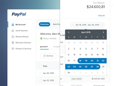 Paypal Redesign dashboard website web ux ui clean minimal calendar widget product design buditanrim paypal