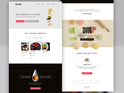 Comida Food - Website website food landing page minimal simple yolk clean ux ui typography buditanrim