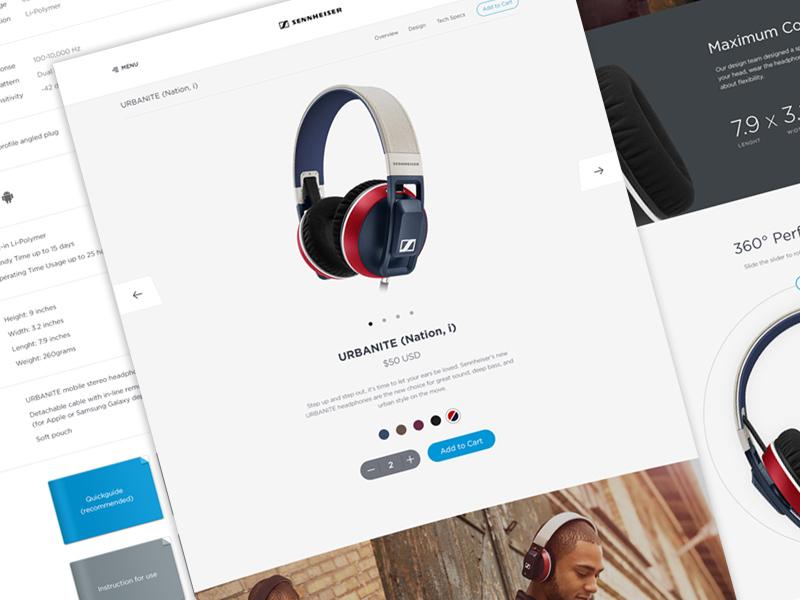 Sennheiser Product Page ui ux minimal landing product redesign visual