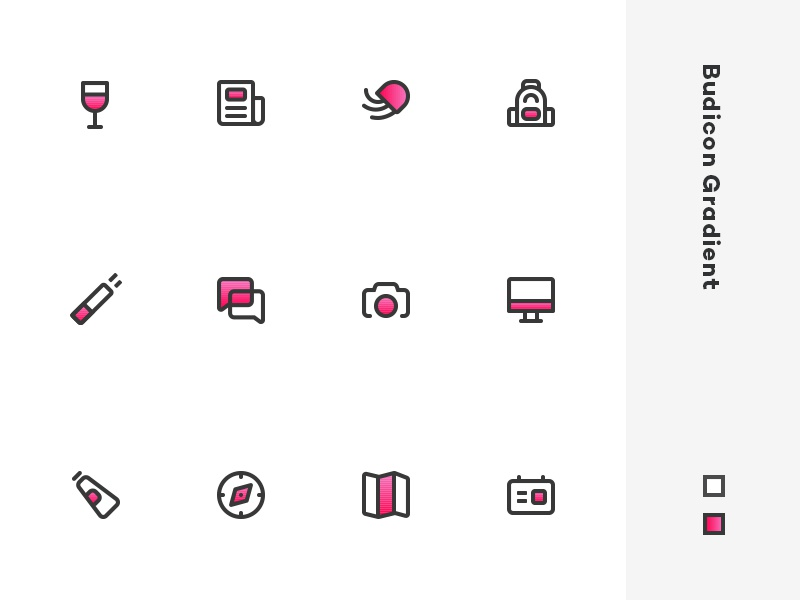 Budicon Gradient glyph icon set icon gradient budicon