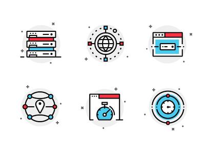 Hosting Icons budi icon web server cdn dns tech server hosting illustration icon icon set