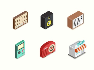 Gemicon Iso (2) audio radio vintage speaker market shop illustration icon icon set
