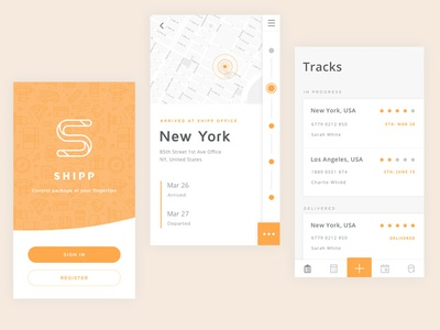 Shipp app - Tracking courier shipping logistic iphone mobile ios application ui ux