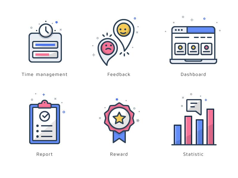 Icon Suite dashboard reward report management feedback budi icon icon illustration
