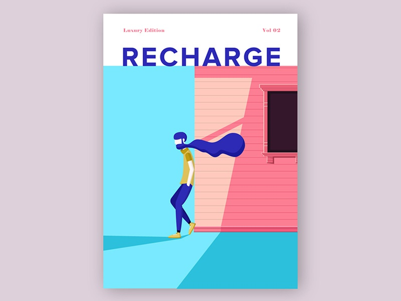 Recharge Cover modern minimalistic minimum illustration magazine cover cover local magazine magazine