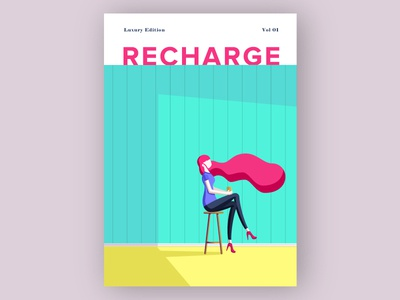 Recharge Cover - Women colorful magazine local magazine cover magazine cover illustration minimum minimalistic modern